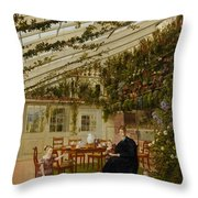 The Family Of Mr  Westfal In The Conservatory  Throw Pillow