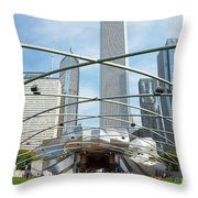 The Great Lawn, Trellis, Bandshell And Jay Pritzker Pavilion, Mi Throw Pillow