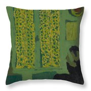 The Green Interior  Figure Seated By A Curtained Window   Throw Pillow