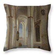 The Interior Of The Buurkerk At Utrecht  Throw Pillow