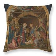 The Nativity With Saints Altarpiece  Throw Pillow