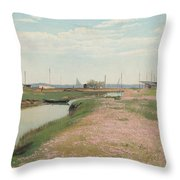 The River And The Harbour At Frederiksvaerk Throw Pillow