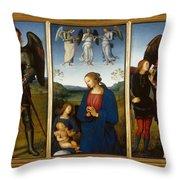 Three Panels From An Altarpiece  Certosa  Throw Pillow