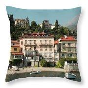 Town In The Shore Of Lake Como Throw Pillow