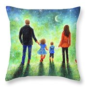 Twilight Walk With Mom And Dad Throw Pillow