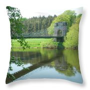 Union Bridge At Horncliffe On River Tweed Throw Pillow