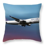 United Airlines Boeing 747-422 Throw Pillow
