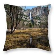 Upper And Lower Yosemite Falls Throw Pillow