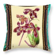 Vintage Orchid Antique Design Marble Caribbean-blue Throw Pillow