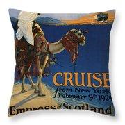 Vintage Poster -  Mediterranean Cruises Throw Pillow