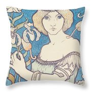 Vintage Poster - Woman With Flower Throw Pillow