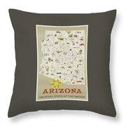 Vintage Travel Poster - Arizona Throw Pillow