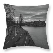 Walking Along The Seine At Sunset Throw Pillow