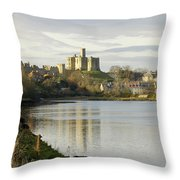 Warkworth Castle And River Aln Throw Pillow