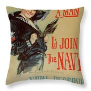 Wartime Propaganda Poster Throw Pillow