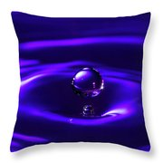 Water Drop Falling Into Water Throw Pillow
