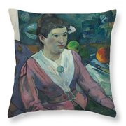 Woman In Front Of A Still Life By Cezanne Throw Pillow