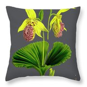 Orchid Old Print Throw Pillow