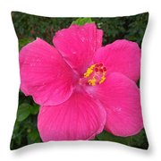 Bright Pink Hibiscus Throw Pillow