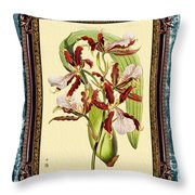 Vintage Orchid Antique Design Marble Blue-green  Throw Pillow