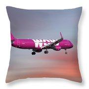 Wow Air Airbus A321-211 Throw Pillow