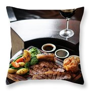 Sunday Roast Beef Traditional British Meal Set On Table Throw Pillow