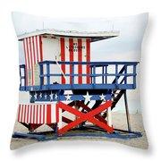 13th Street Lifeguard Tower - Miami Beach Throw Pillow
