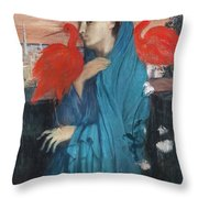 Young Woman With Ibis  Throw Pillow