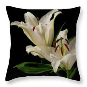 White Lily On Black. Throw Pillow