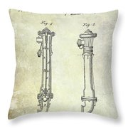 1859 Fire Hydrant Patent Throw Pillow