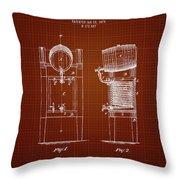 1876 Brewing Cooler - Dark Red Blueprint Throw Pillow