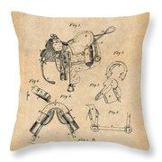 1880 Military Saddle Patent Print Antique Paper Throw Pillow