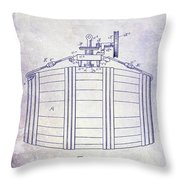 1888 Whiskey Or Beer Barral Patent Blueprint Throw Pillow