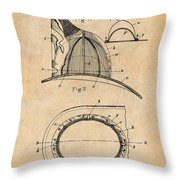 1889 Hopkins Fireman's Hat Antique Paper Patent Print Throw Pillow