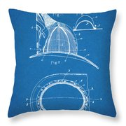 1889 Hopkins Fireman's Hat Blueprint Patent Print Throw Pillow