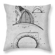 1889 Hopkins Fireman's Hat Gray Patent Print Throw Pillow