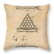 1891 Billiard Ball Rack Patent Print Antique Paper Throw Pillow