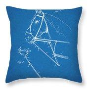 1891 Horse Harness Attachment Patent Print Blueprint Throw Pillow