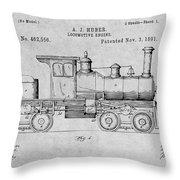 1891 Huber Locomotive Engine Gray Patent Print Throw Pillow