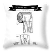 1891 Toilet Paper Roll - Black Retro Style Throw Pillow