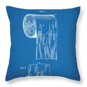 1891 Toilet Paper Roll Blueprint Patent Print Throw Pillow