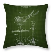 1892 Ships Anchor - Dark Green Blueprint Throw Pillow