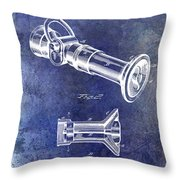 1896 Fire Hose Spray Nozzle Patent Blue Throw Pillow