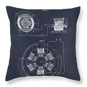 1896 Tesla Alternating Motor Blackboard Patent Print Throw Pillow