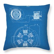 1896 Tesla Alternating Motor Blueprint Patent Print Throw Pillow