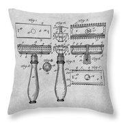 1901 Gillette Safety Razor Gray Patent Print Throw Pillow