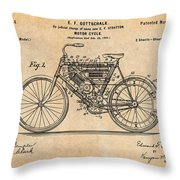 1901 Stratton Motorcycle Antique Paper Patent Print Throw Pillow
