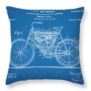 1901 Stratton Motorcycle Blueprint Patent Print Throw Pillow