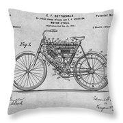 1901 Stratton Motorcycle Gray Patent Print Throw Pillow