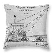 1903 Railroad Derrick Gray Patent Print Throw Pillow